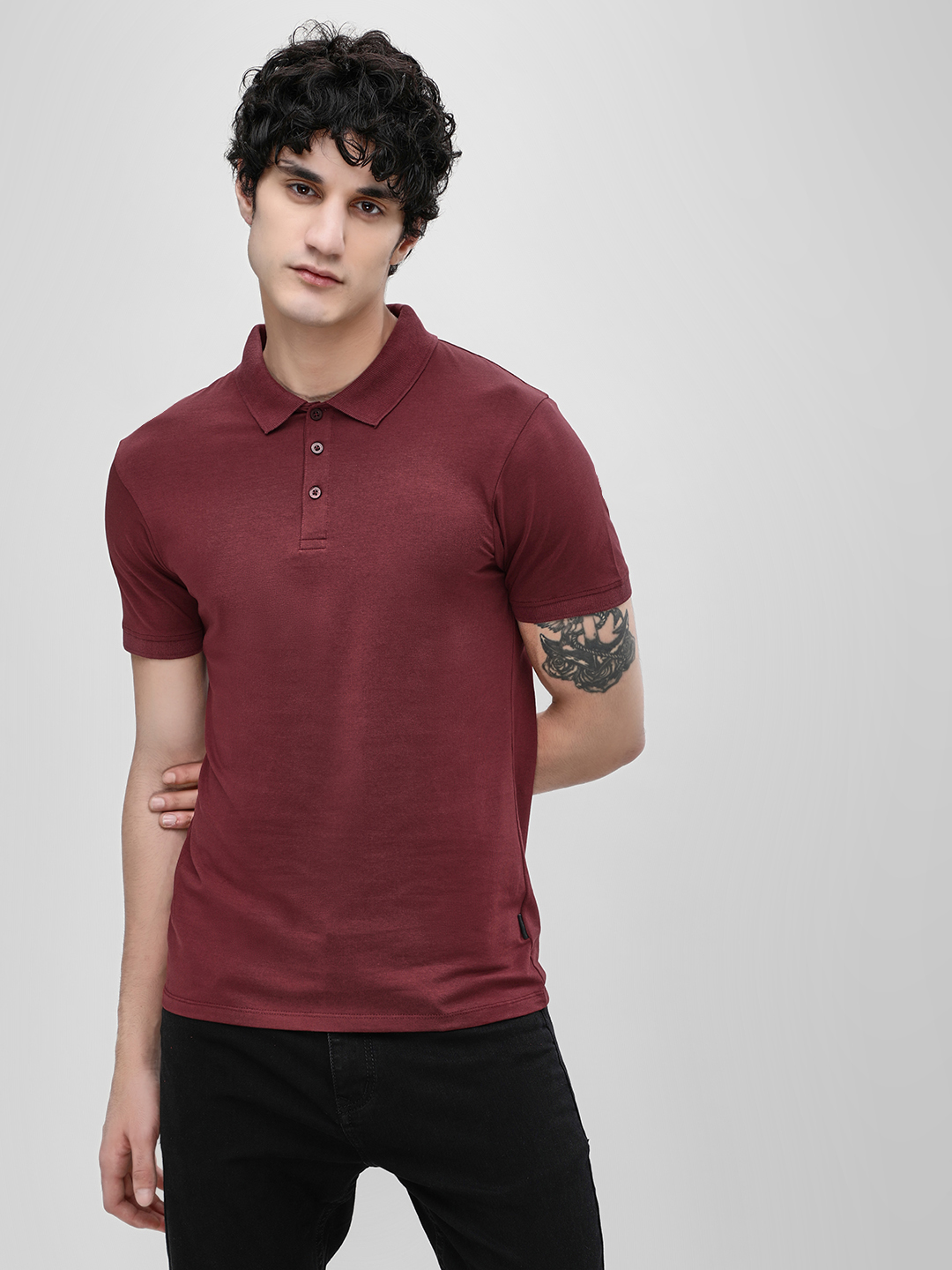 KOOVS Maroon Basic Muscle Fit Polo Shirt 1