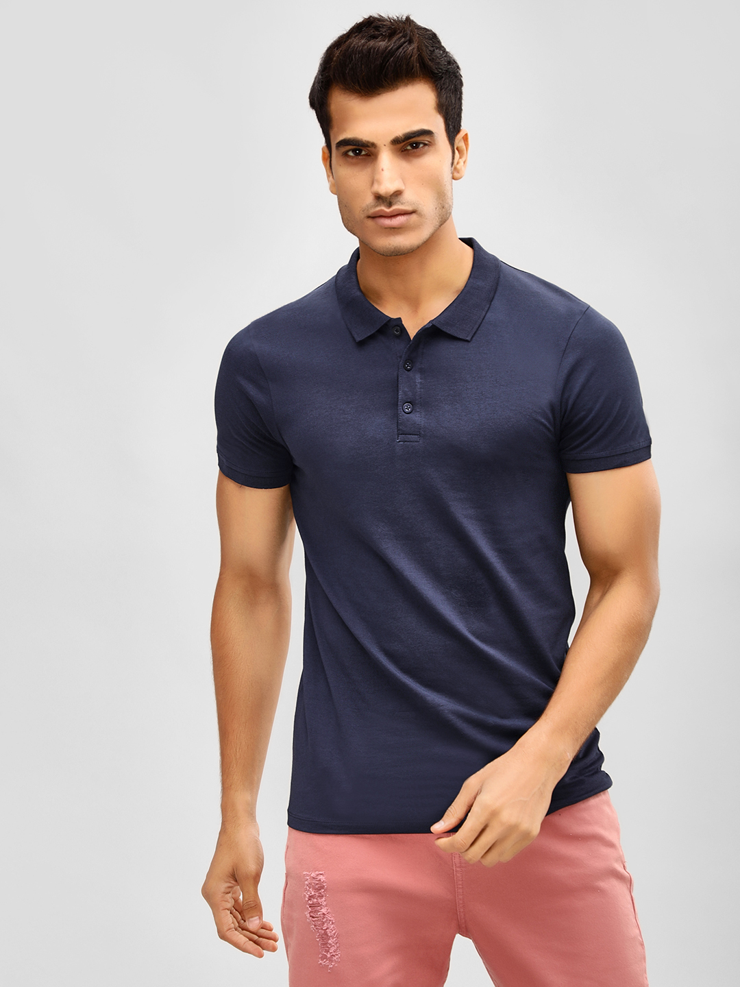 KOOVS Dark Blue Basic Muscle Fit Polo Shirt 1