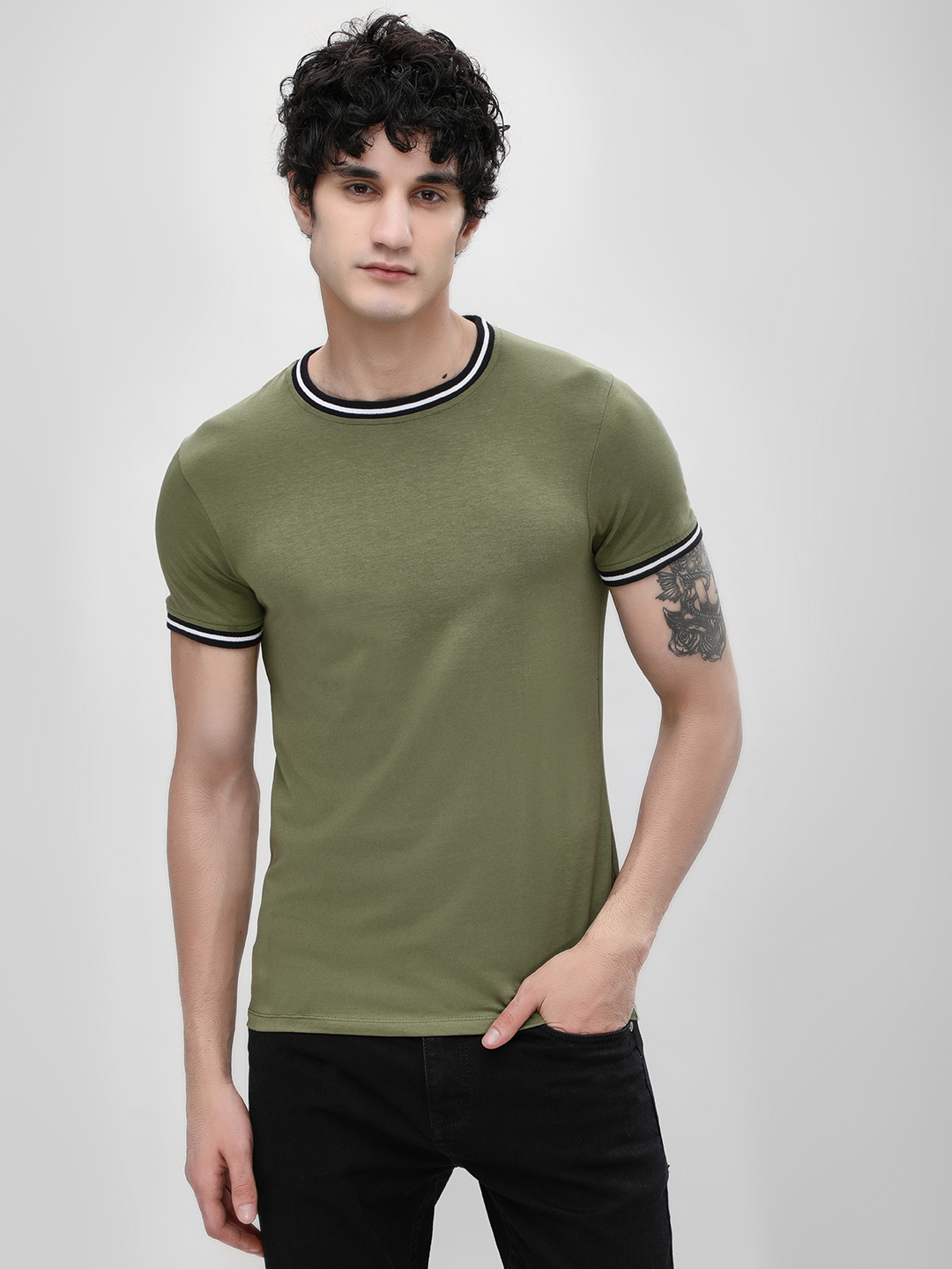 KOOVS Green Muscle Fit Ringer T-Shirt 1