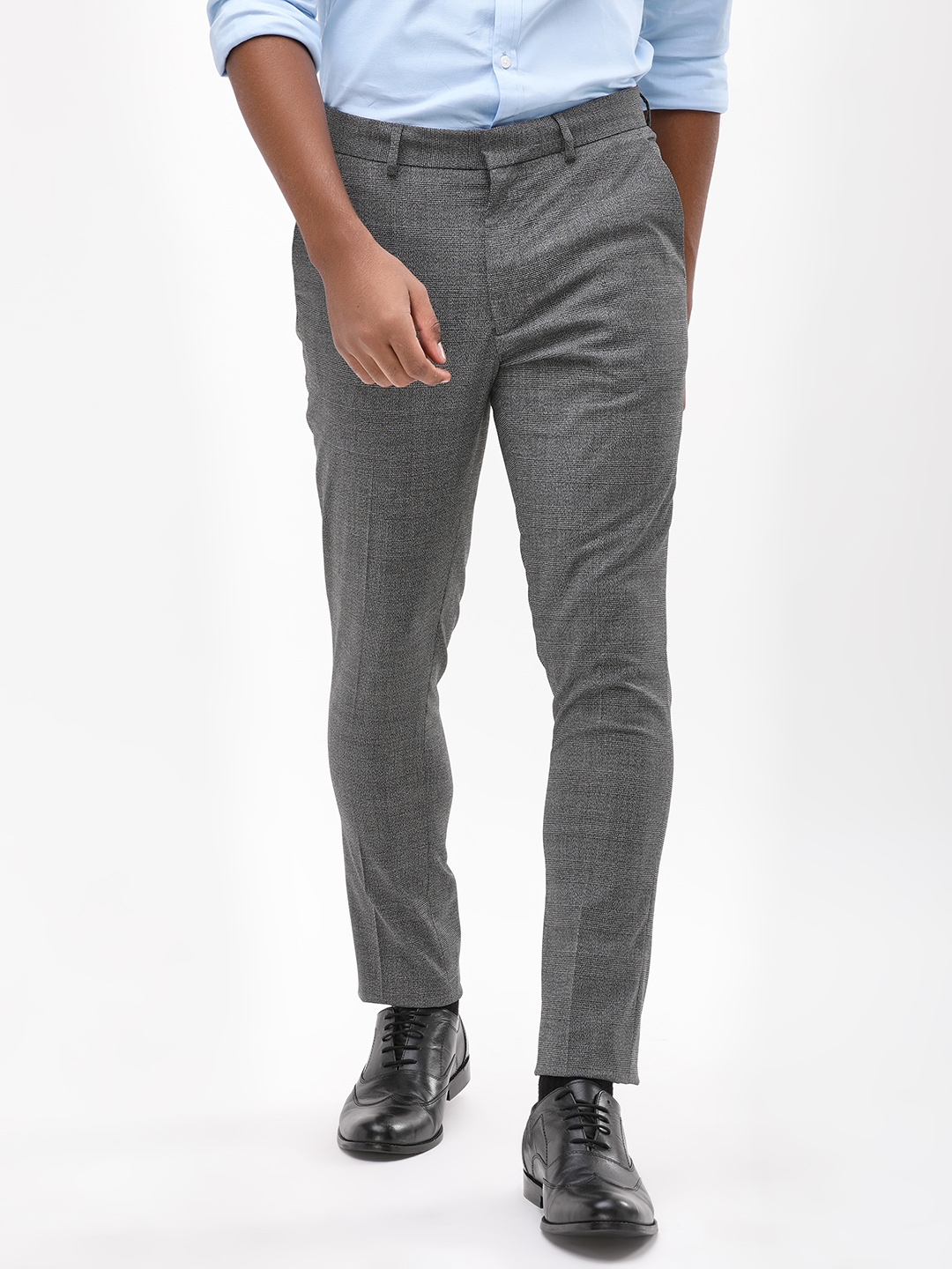 New Look Grey Shadow Check Skinny Trousers 1