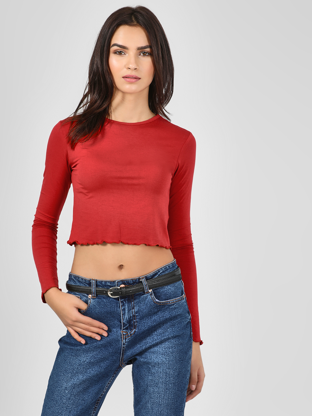 KOOVS Red Long Sleeve Crop T-Shirt 1