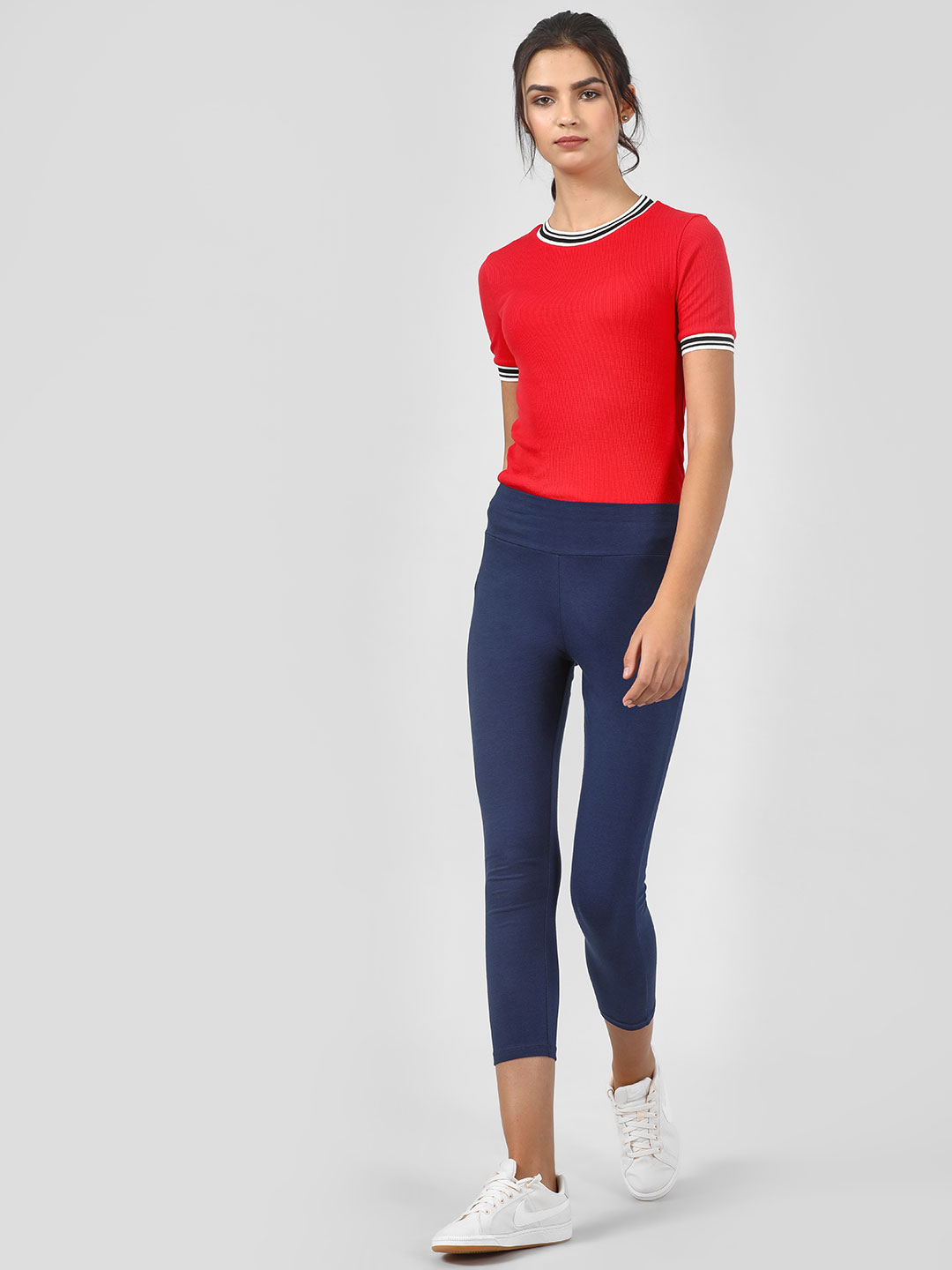 KOOVS Blue Ankle Length Cropped Leggings 1