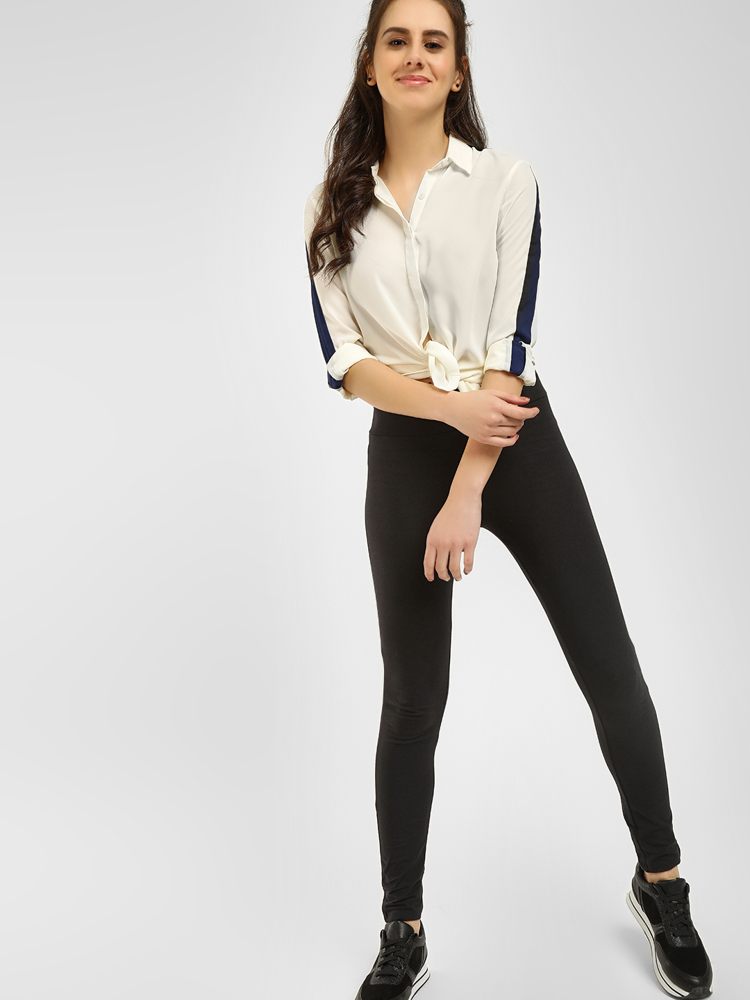 KOOVS Black Basic High Waist Leggings 1