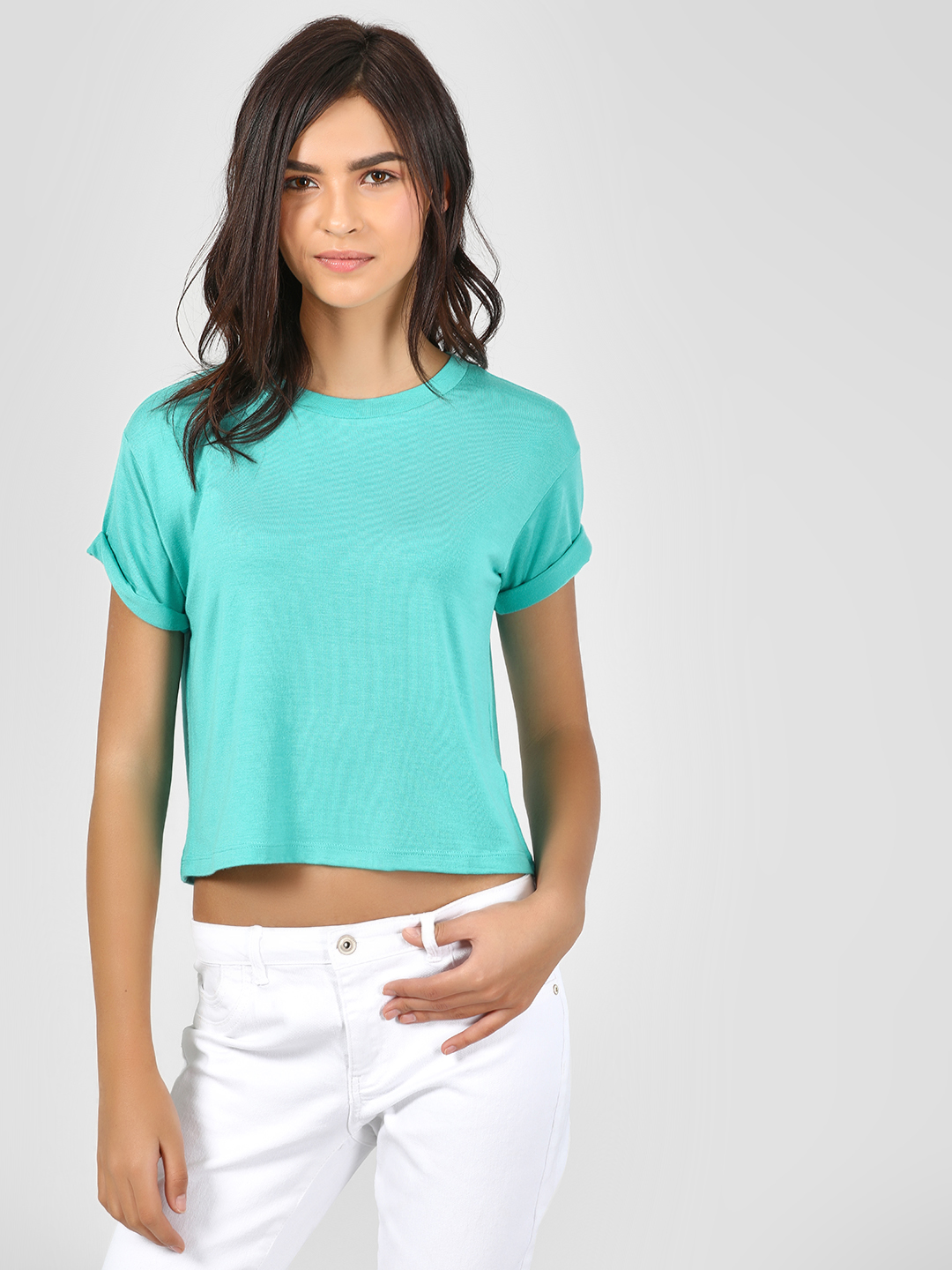 KOOVS Teal Basic Round Neck T-Shirt 1