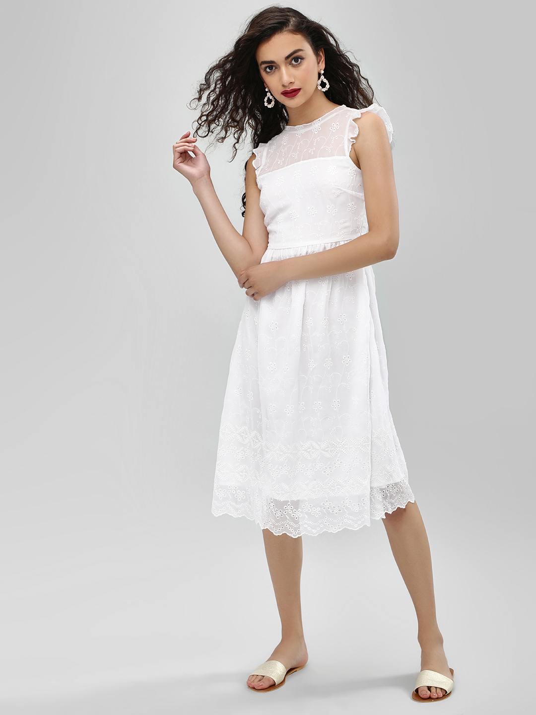KOOVS White Fit & Flare Broderie Dress 1