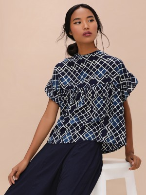 KOOVS Printed Ruffle Sleeve To...