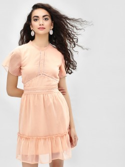 KOOVS Frill & Lace Shift Dress