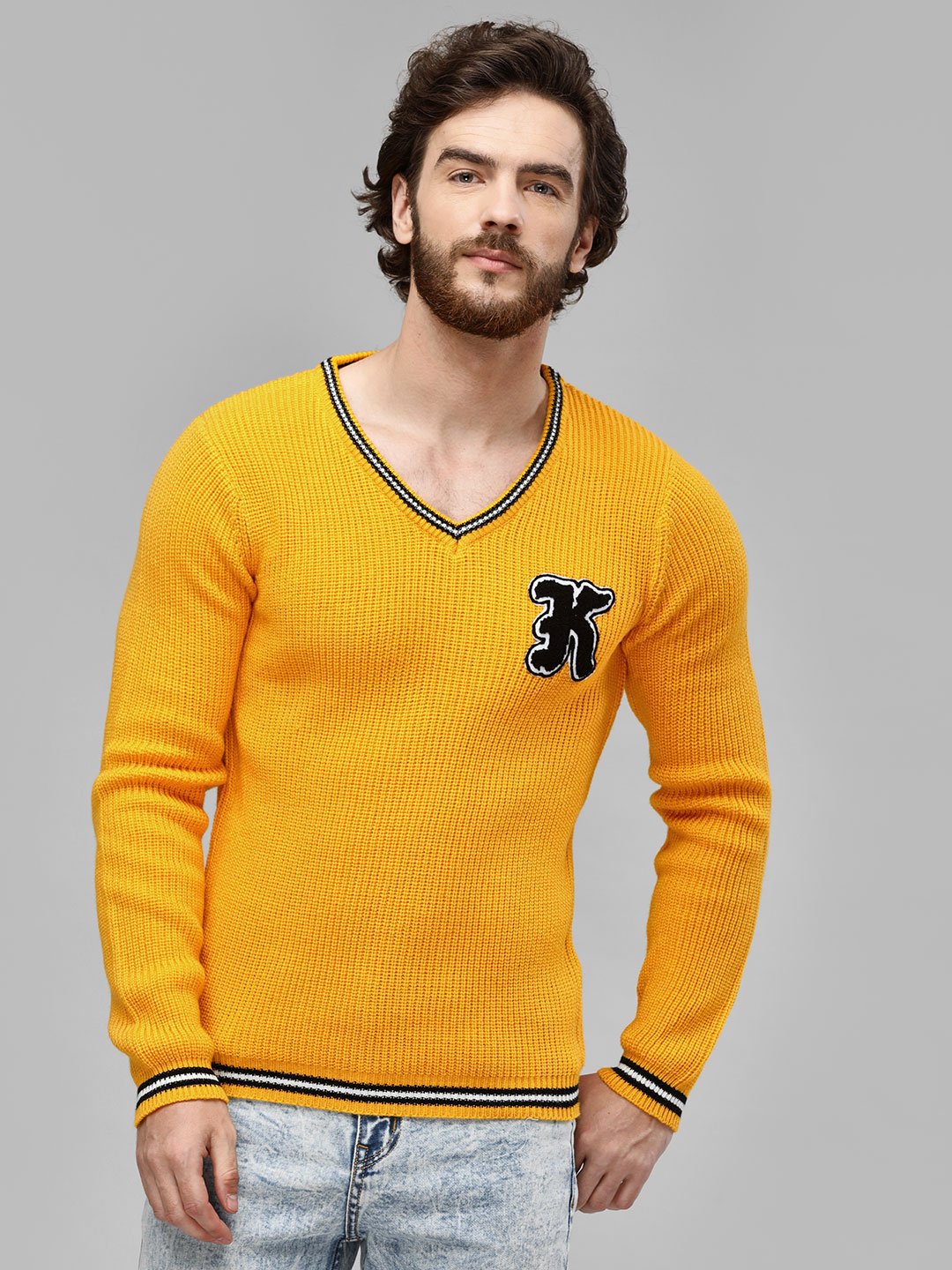 KOOVS Yellow V Neck Ribbed Pullover 1