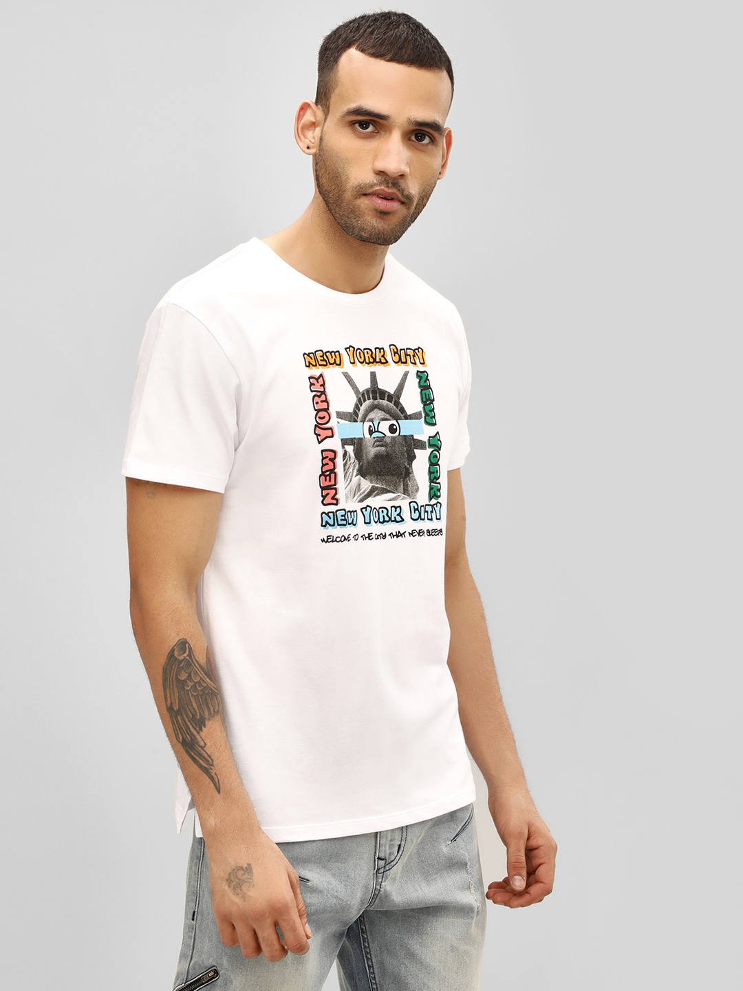 KOOVS White Cartoon Glitch Slogan T-Shirt 1