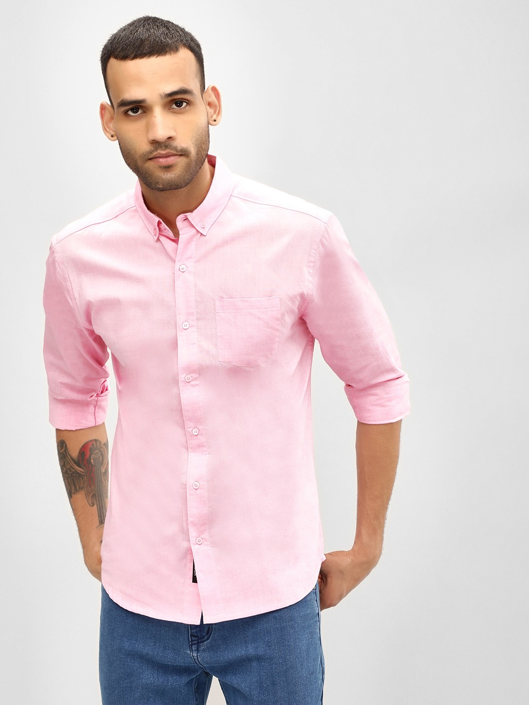 KOOVS Pink Oxford Slim Fit Shirt 1