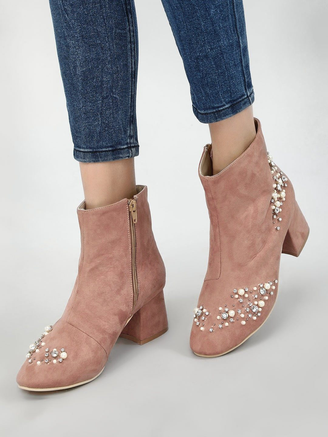 KOOVS Blush pink Embellished Ankle Heeled Boots 1
