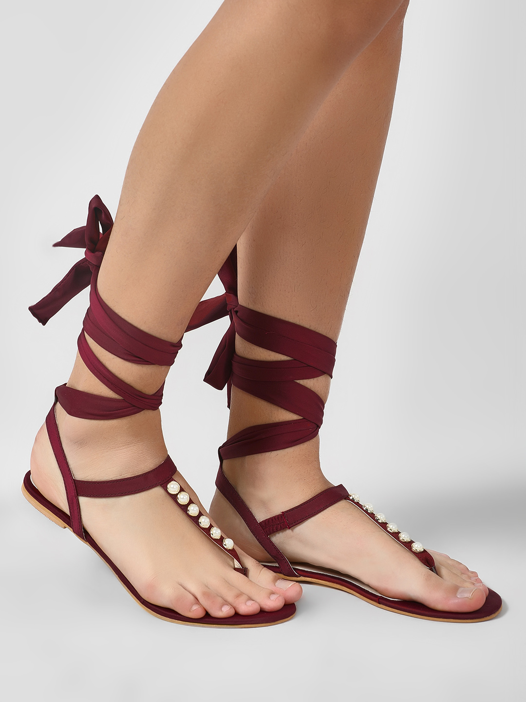 KOOVS Burgundy Pearl Detail Ankle Tie Sandals 1