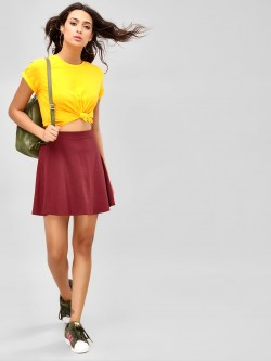 KOOVS Elasticated Mini Skater Skirt