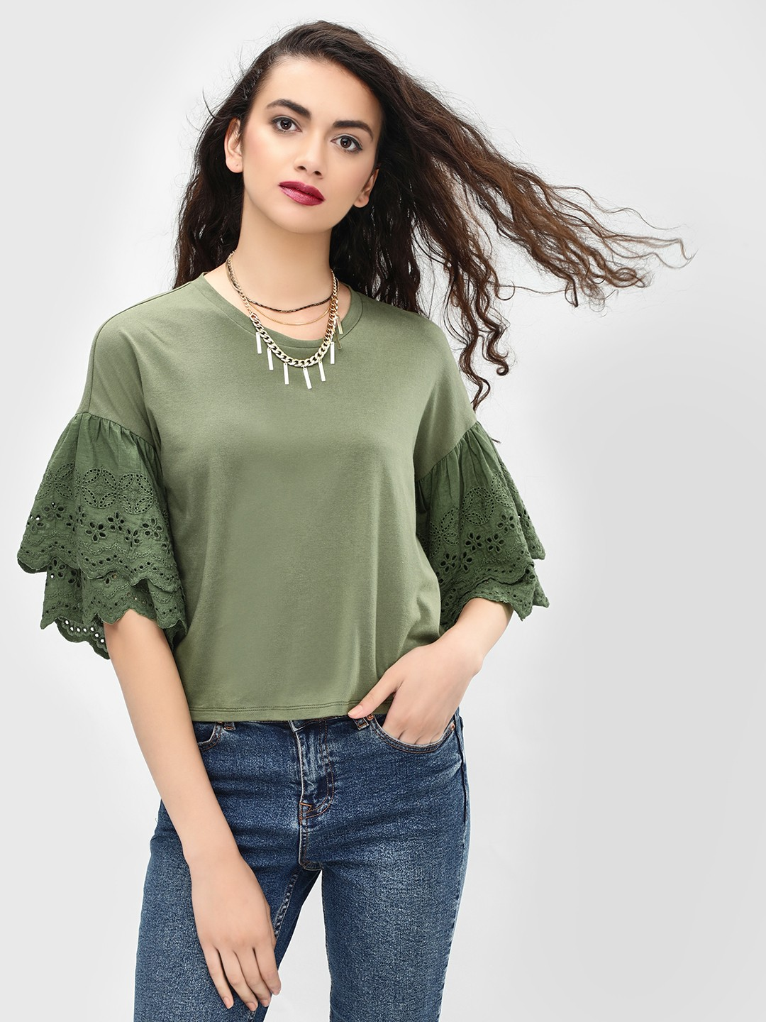 KOOVS Green Broderie Trim Sleeve T-Shirt 1