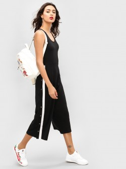 Spring Break Contrast Tape Popper Culotte Jumpsuit