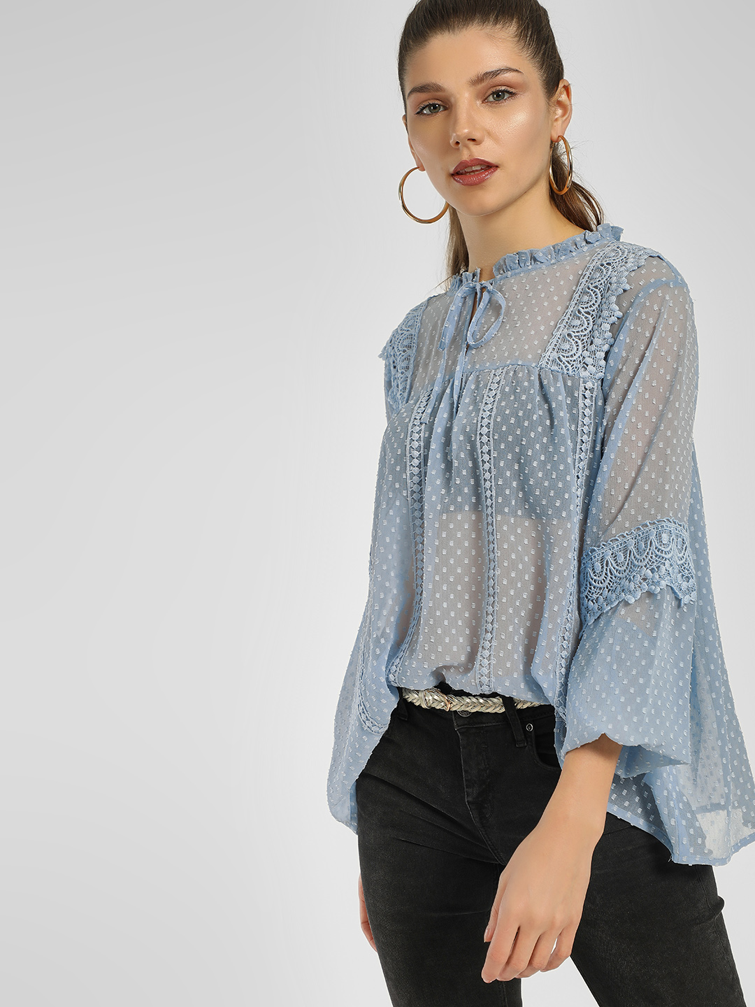 KOOVS Blue Dobby Smocked Top 1