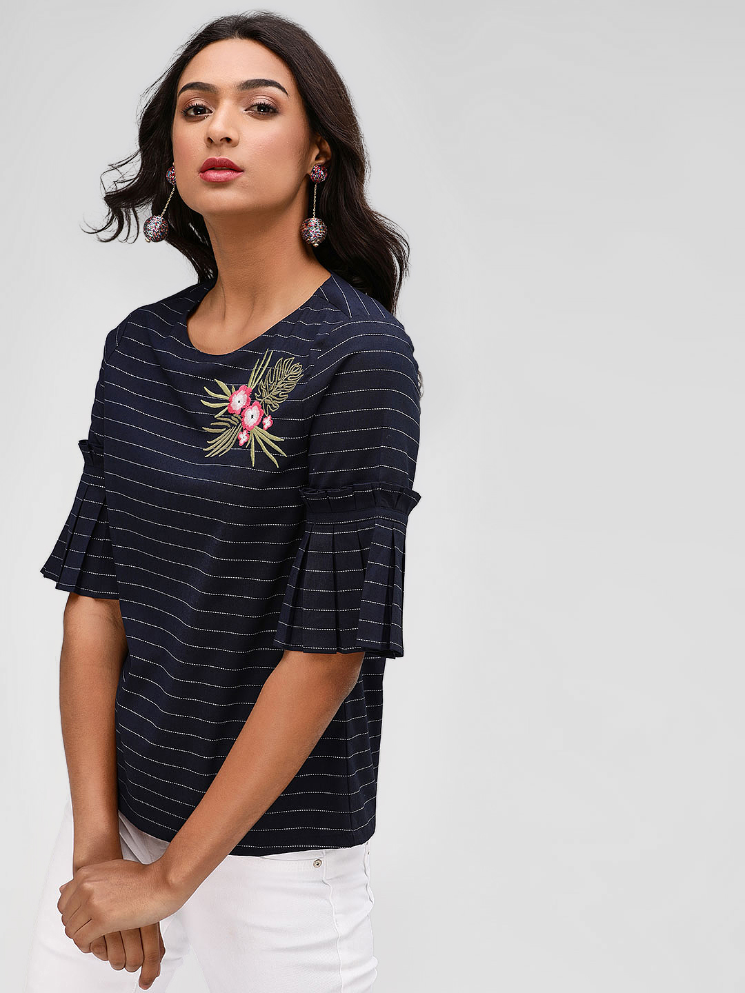 PostFold Navy Striped Top With Floral Embroidery 1