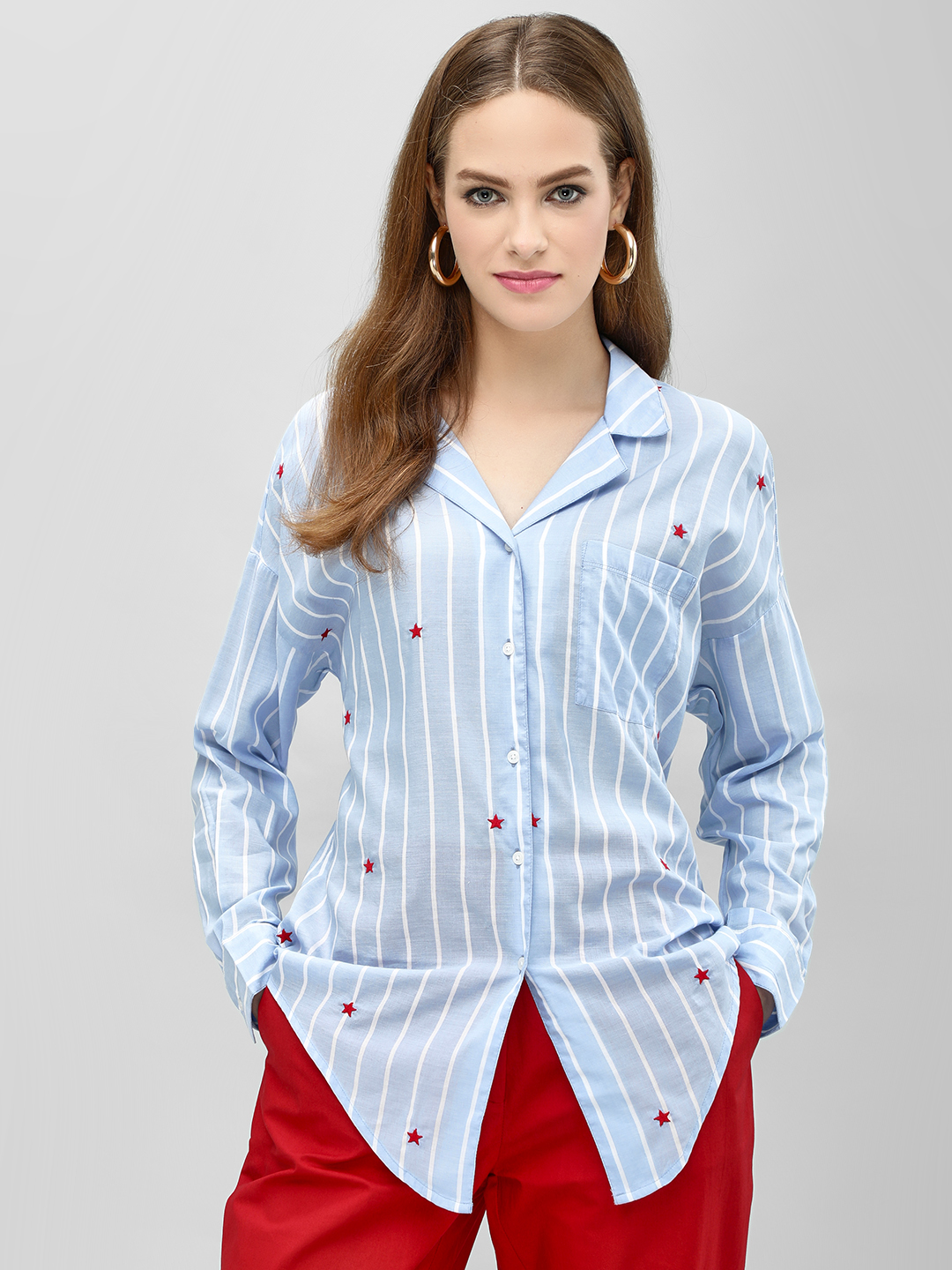 PostFold Multi Striped Star Embroidered Boxy Shirt 1