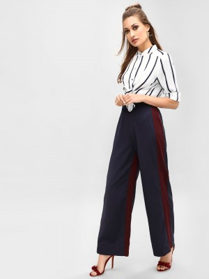 KOOVS Striped High Waist Trous...