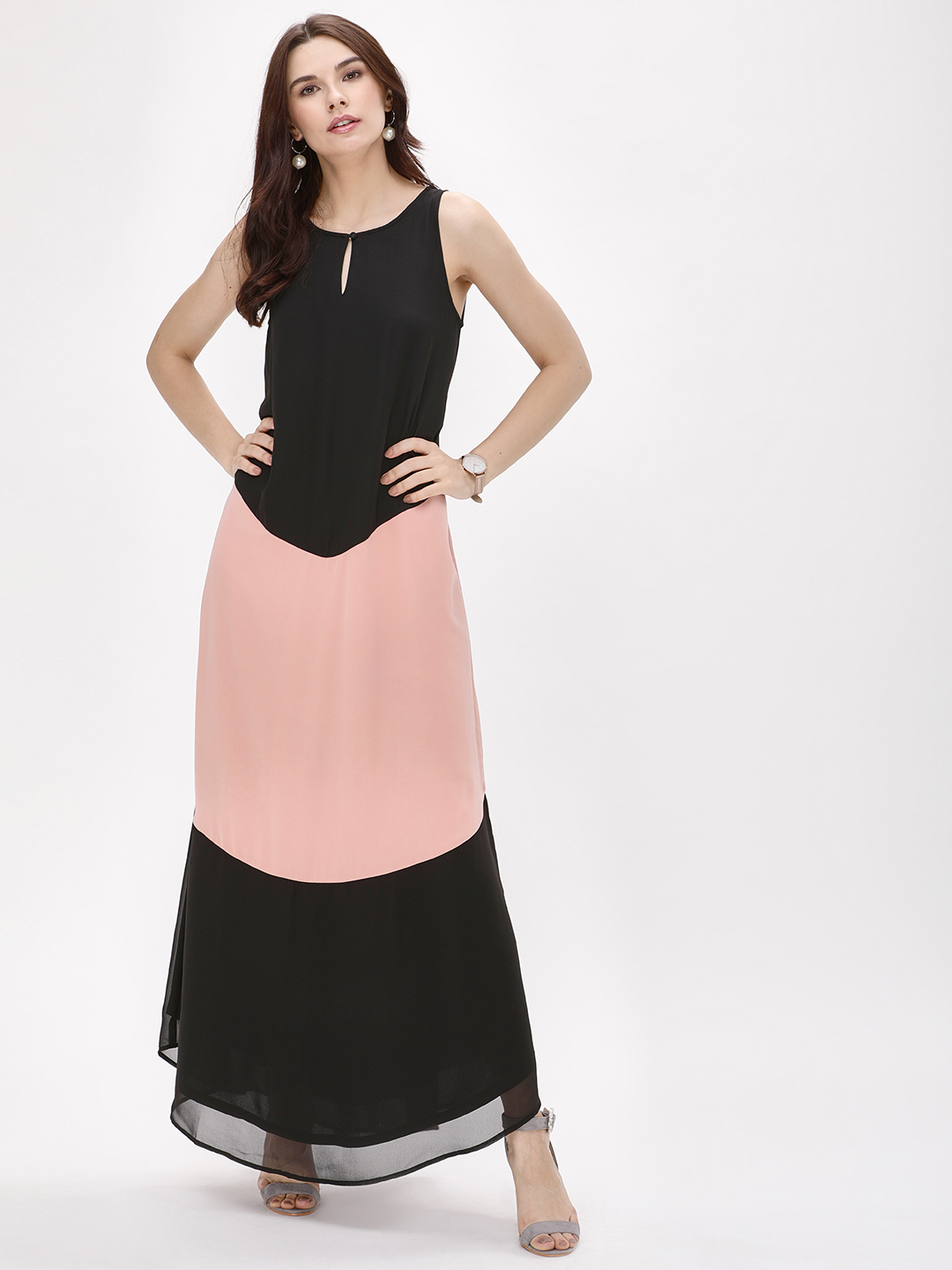 Femella Black Colour Block Maxi Dress 1