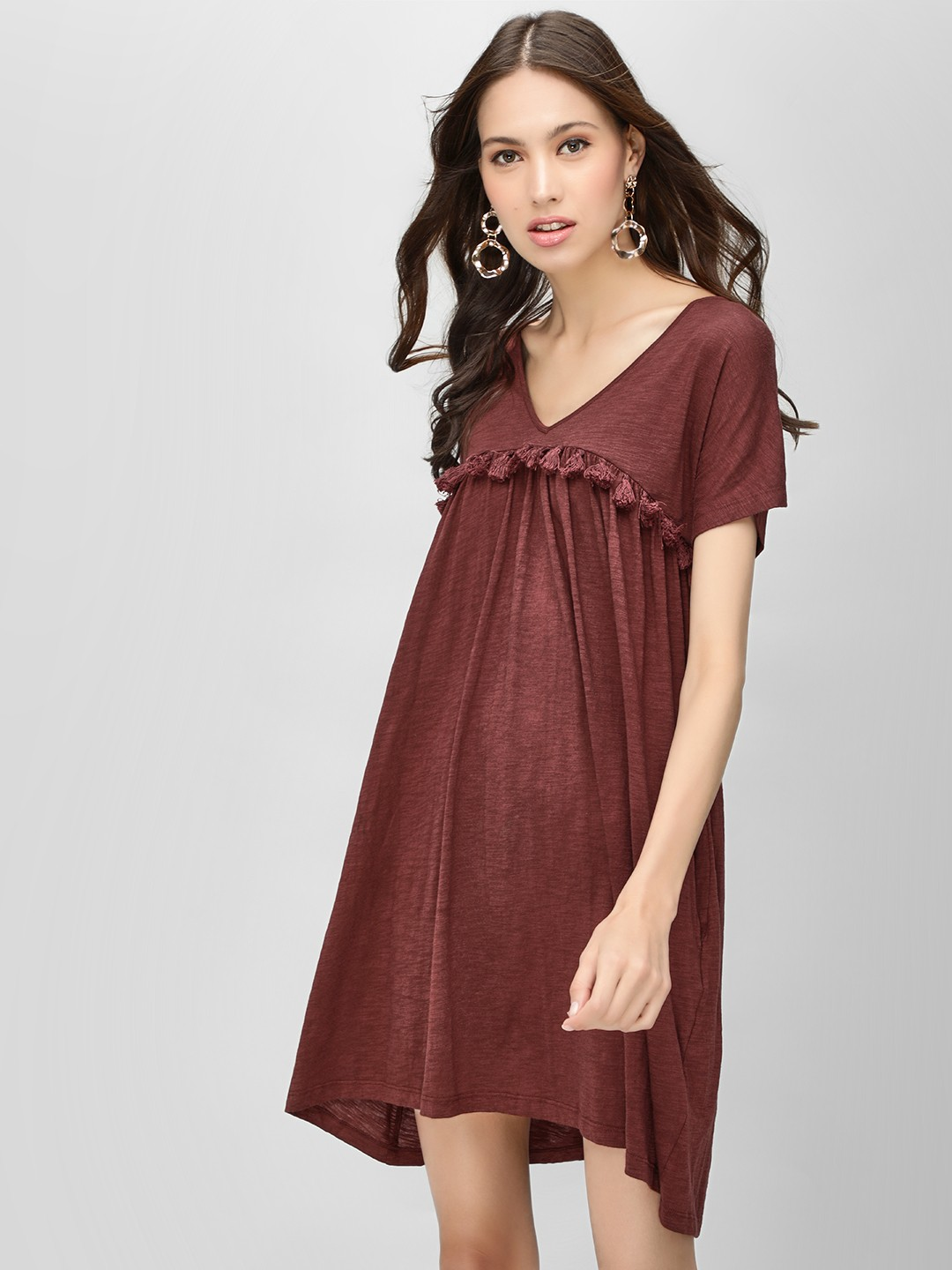 KOOVS Maroon Tassel Detail Tunic Dress 1