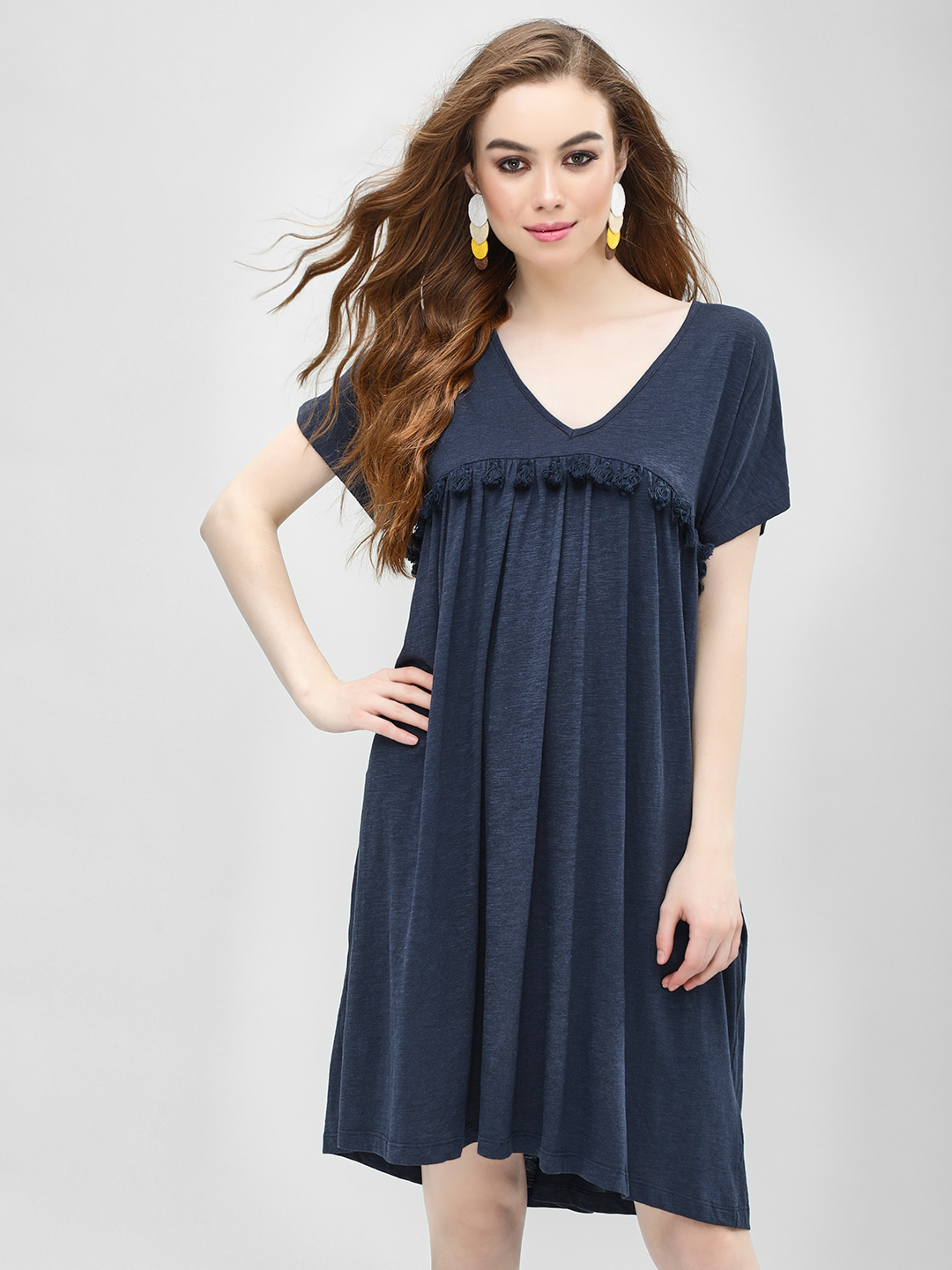 KOOVS Navy Tassel Detail Tunic Dress 1