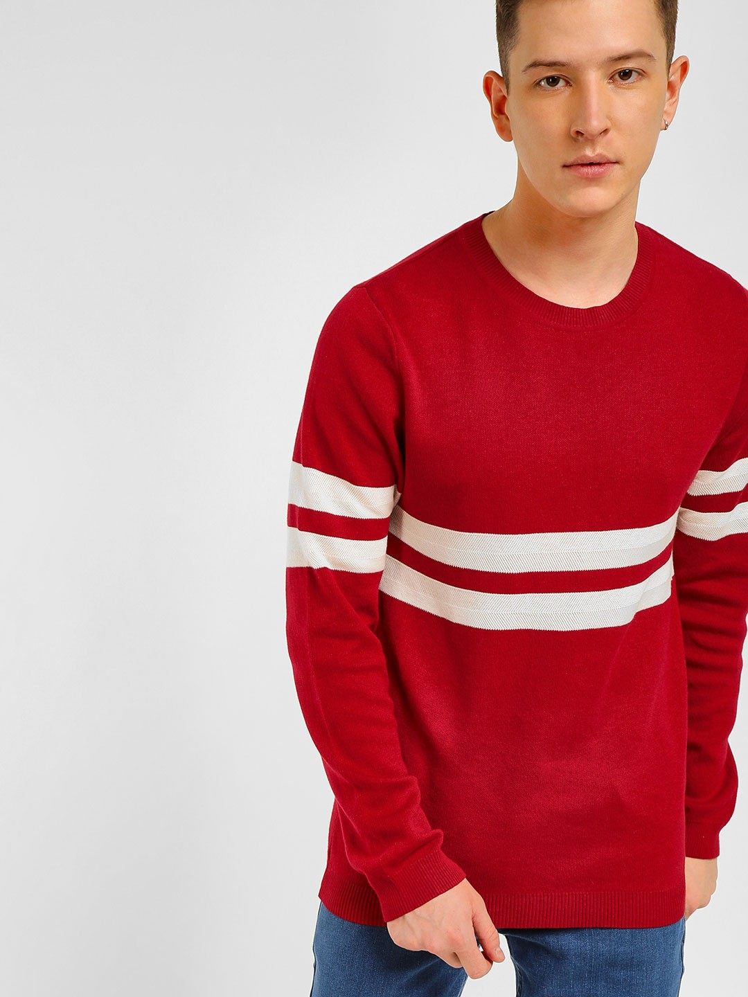 KOOVS Red Contrast Stripe Ribbed Pullover 1