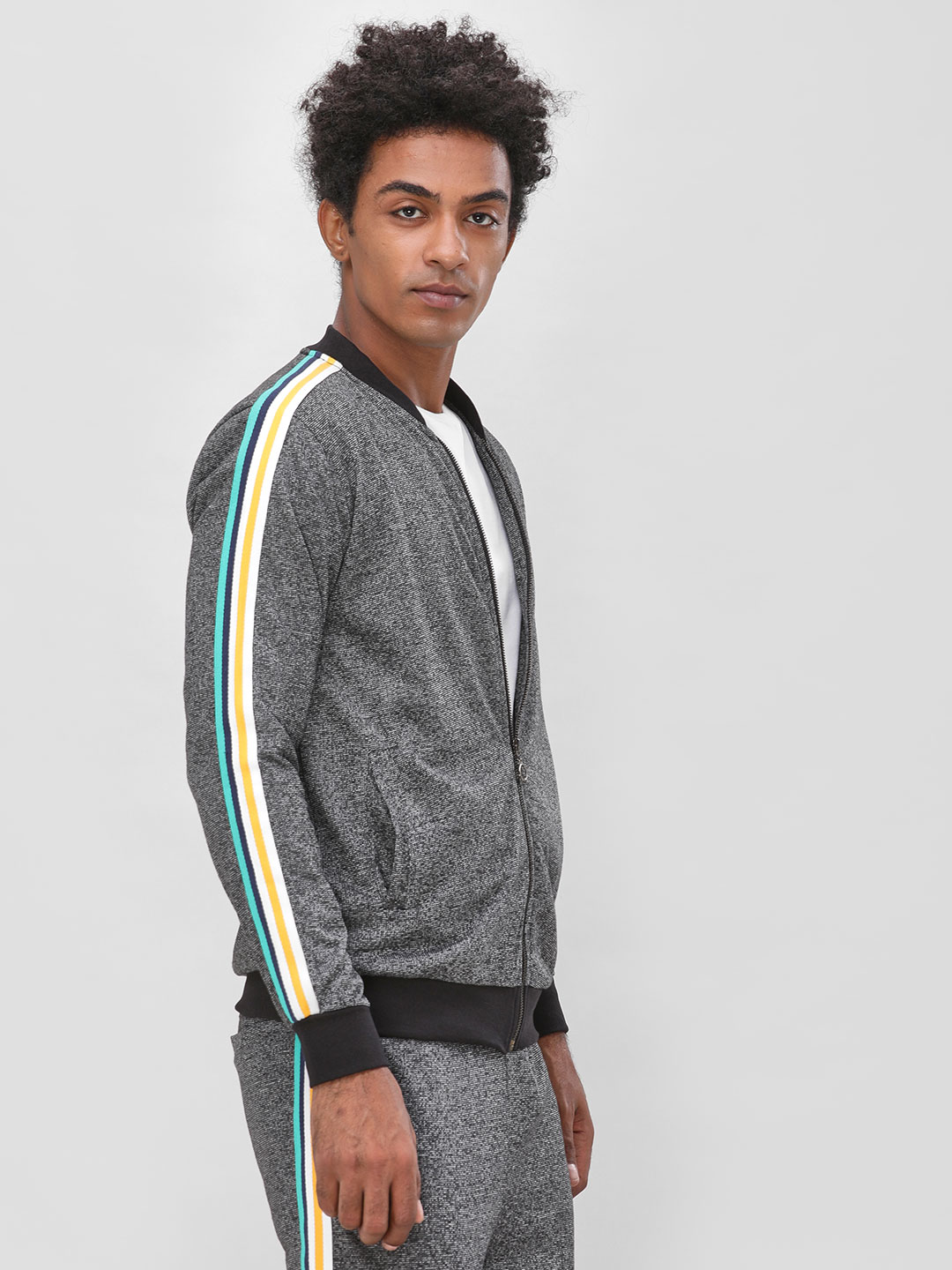KOOVS Grey Side Tape Detail Sweatshirt 1