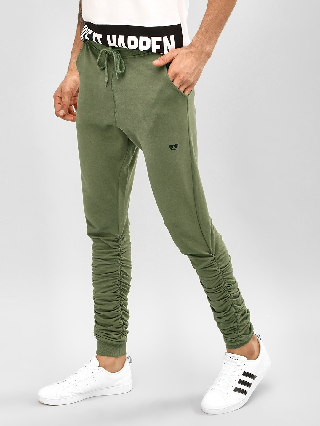 Garcon Green Ruched Detail Cuffed Joggers 1