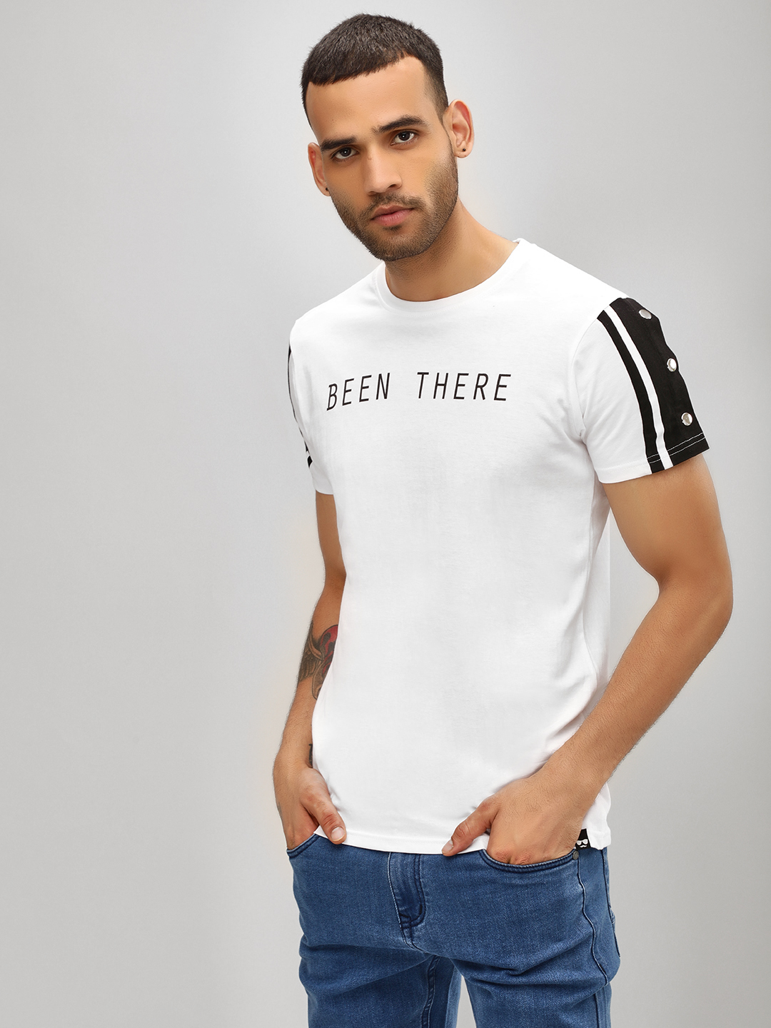 Garcon White Slogan T-Shirt With Buttoned Sleeves 1