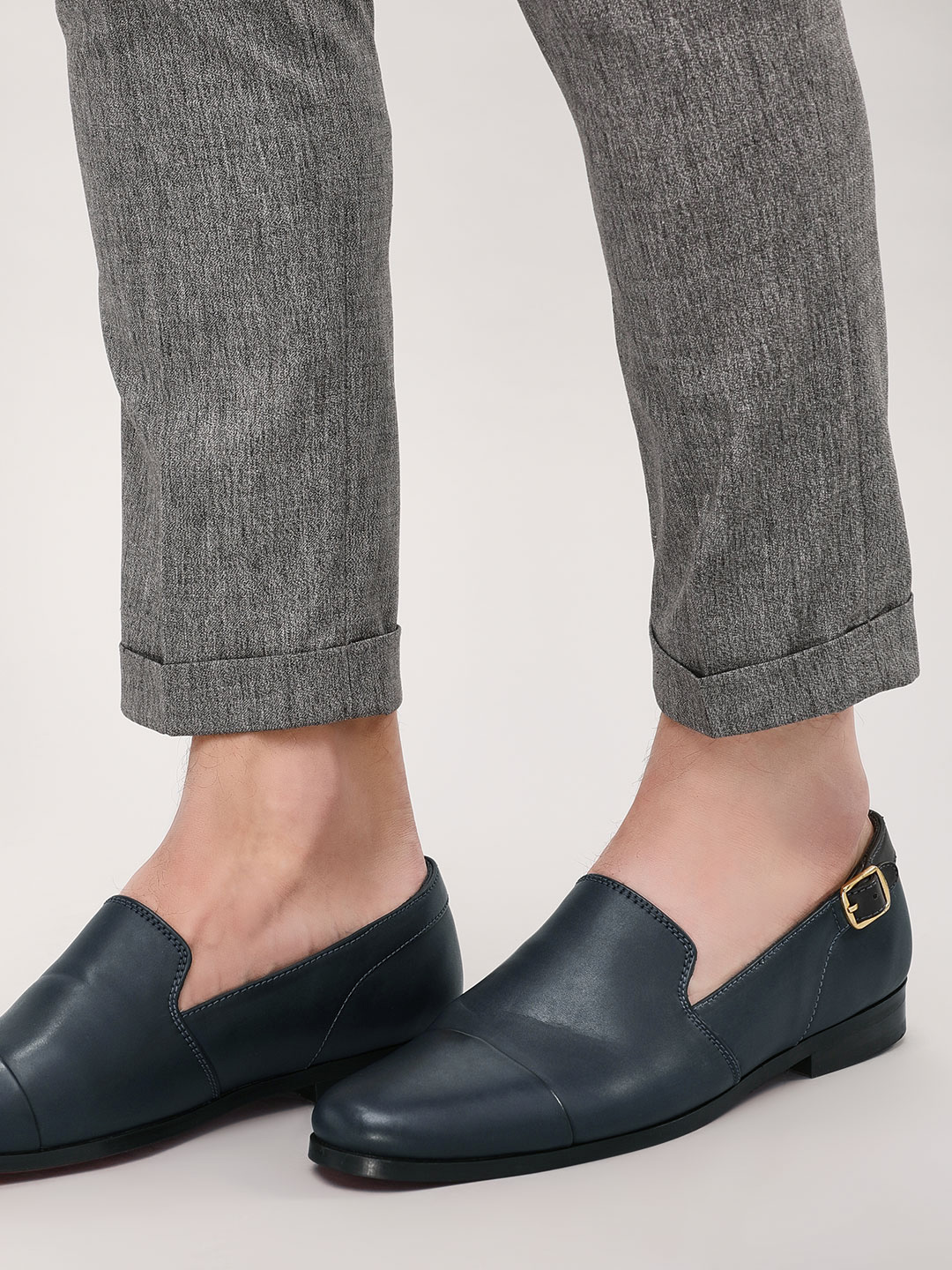 Griffin Blue Buckle Detail Panelled Loafers 1