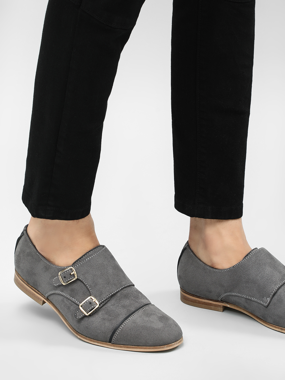 Griffin Grey Double Buckle Formal Shoes 1