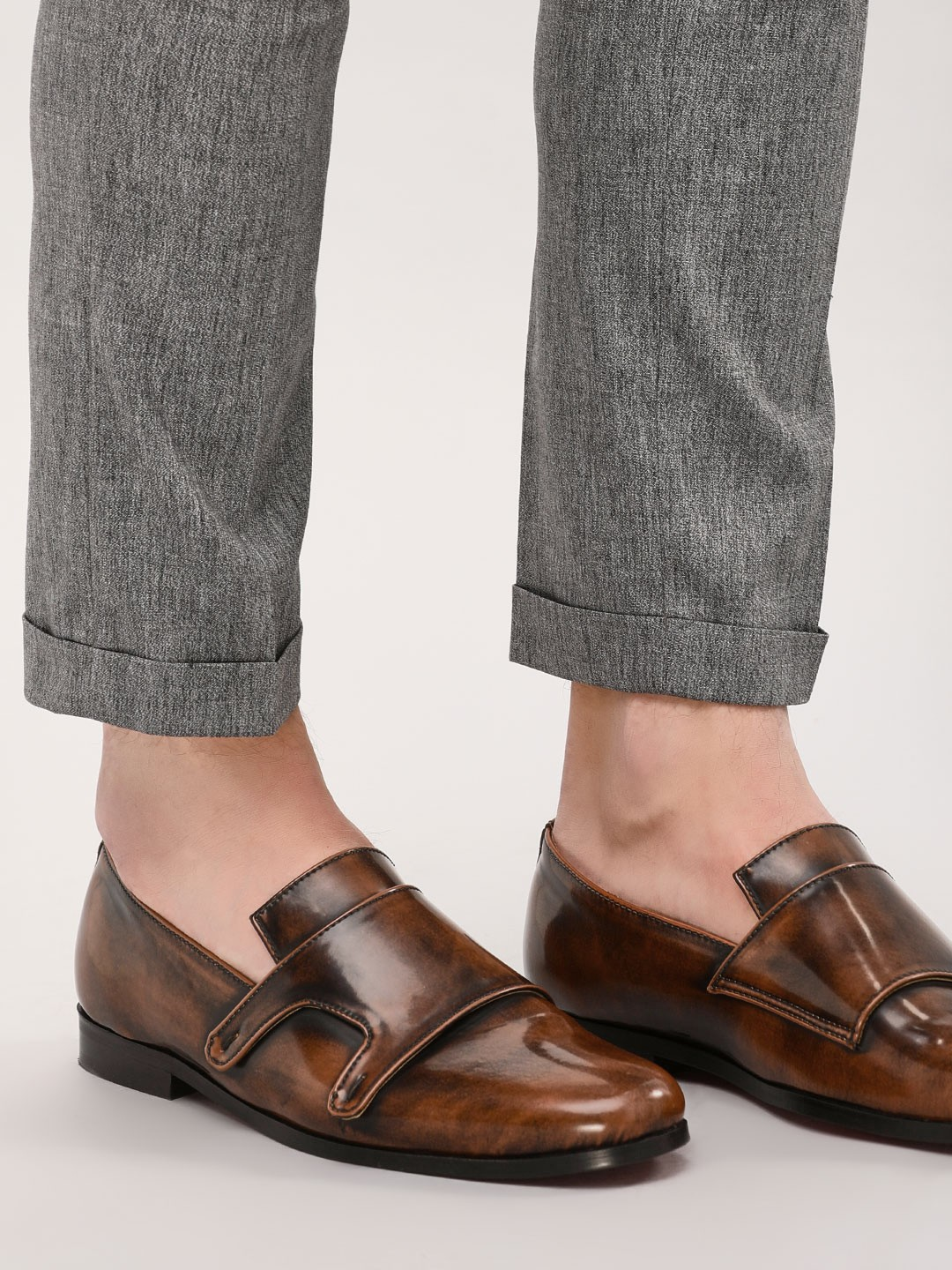 Griffin Brown Two-Tone Burnished Loafers 1