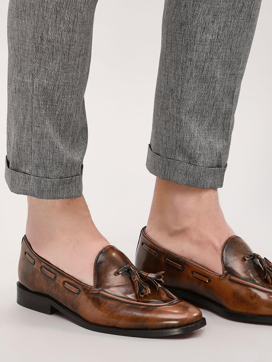 Griffin Brown Two-Tone Burnished Tassel Loafers 1