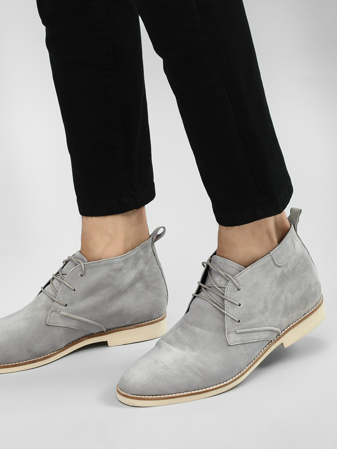 Griffin Grey Panel Detail Suede Leather Boots 1