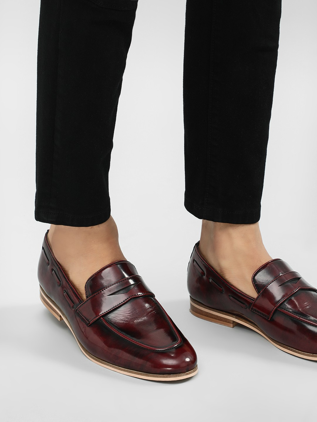 Griffin Red Two-Tone Burnished Loafers 1