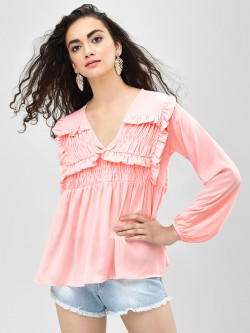 KOOVS Smocked Frill Detail Top