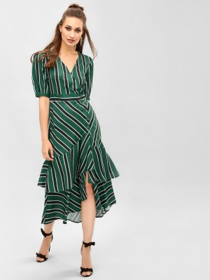 KOOVS Striped High-Low Midi Dr...