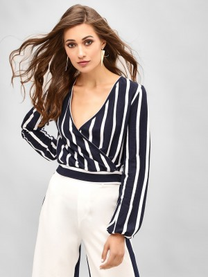 KOOVS Wrap Front Striped Top...