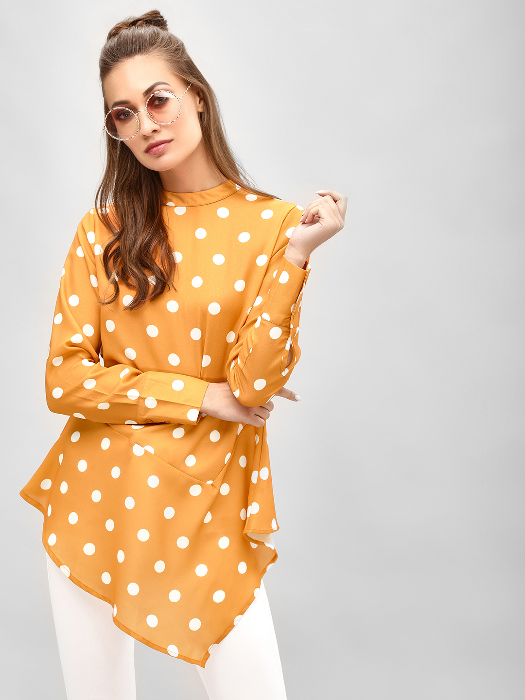 KOOVS Multi Polka Dot Asymmetric Hem Top 1