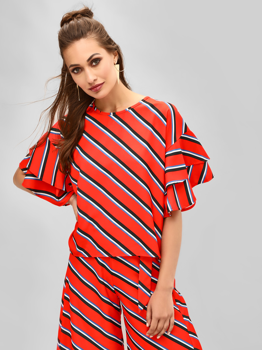 KOOVS Multi Tier Sleeve Striped Blouse 1