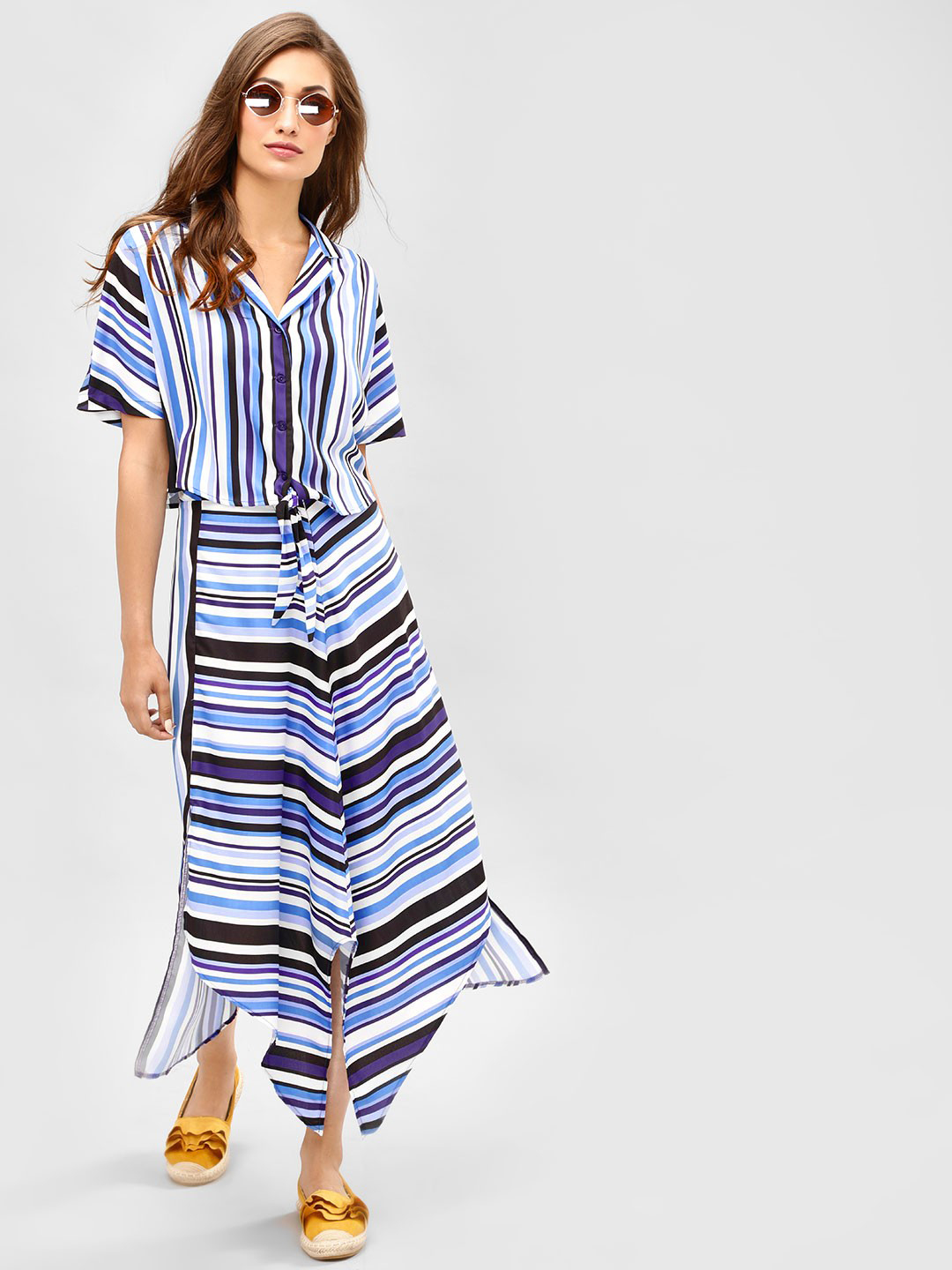 KOOVS Multi Striped Asymmetric Midi Skirt 1