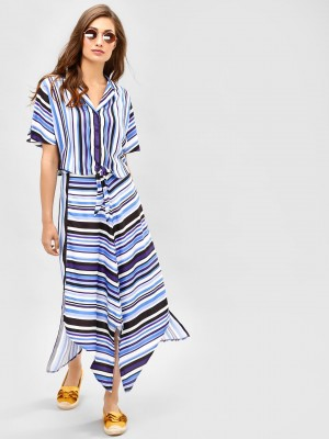 KOOVS Striped Asymmetric Midi ...