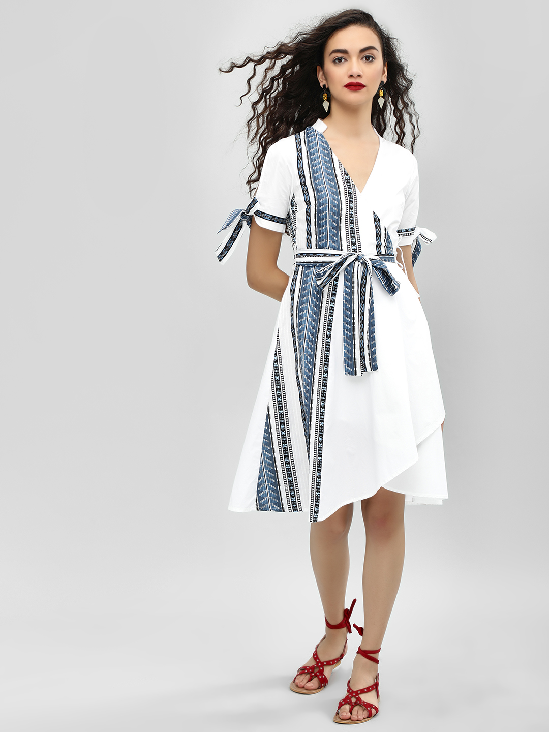 Ri-Dress White Print Panel Wrap Asymmetric Dress 1
