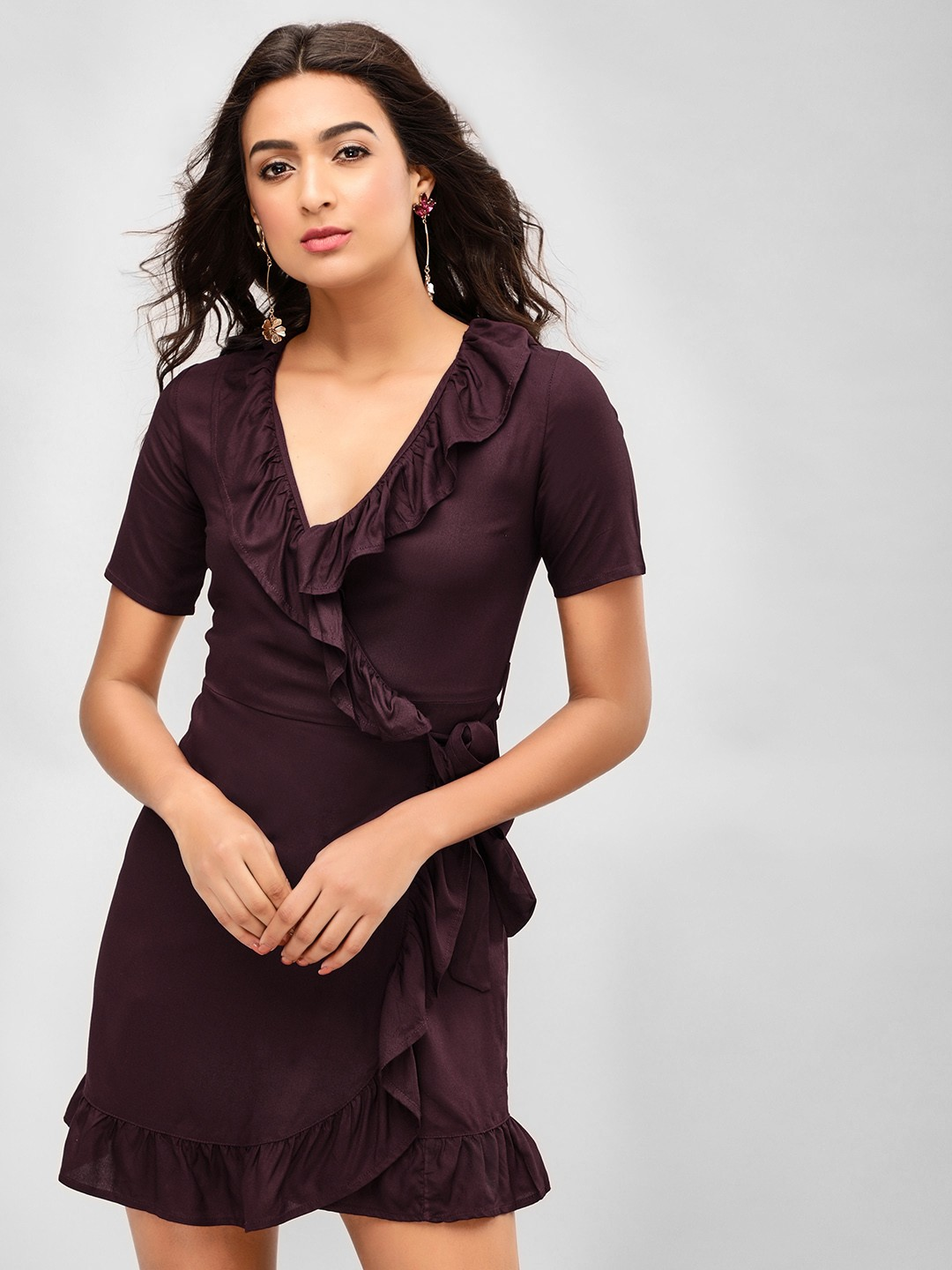KOOVS Dark Purple Ruffle Wrap Skater Dress 1