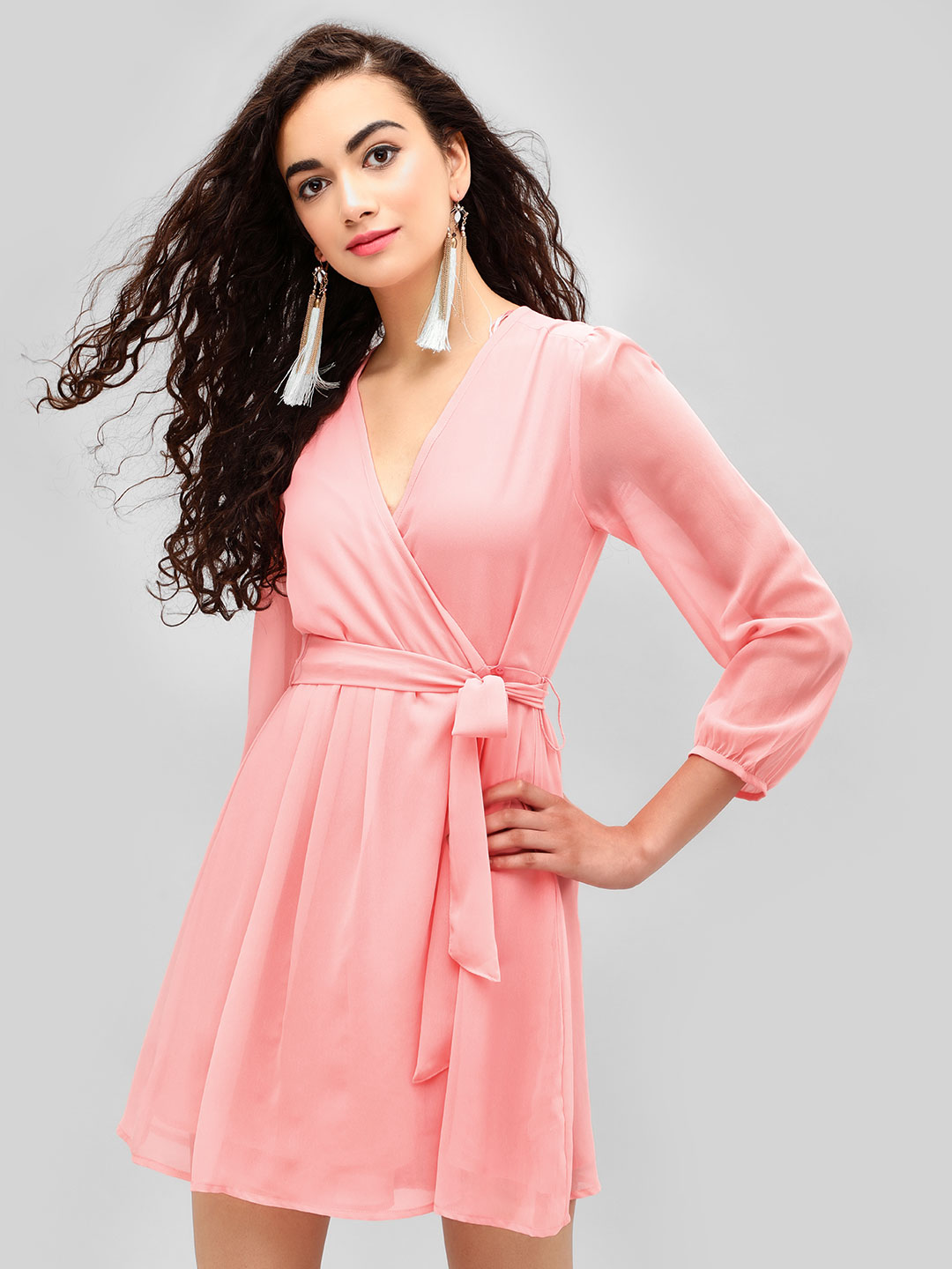 KOOVS Blush Wrap Front Skater Dress 1