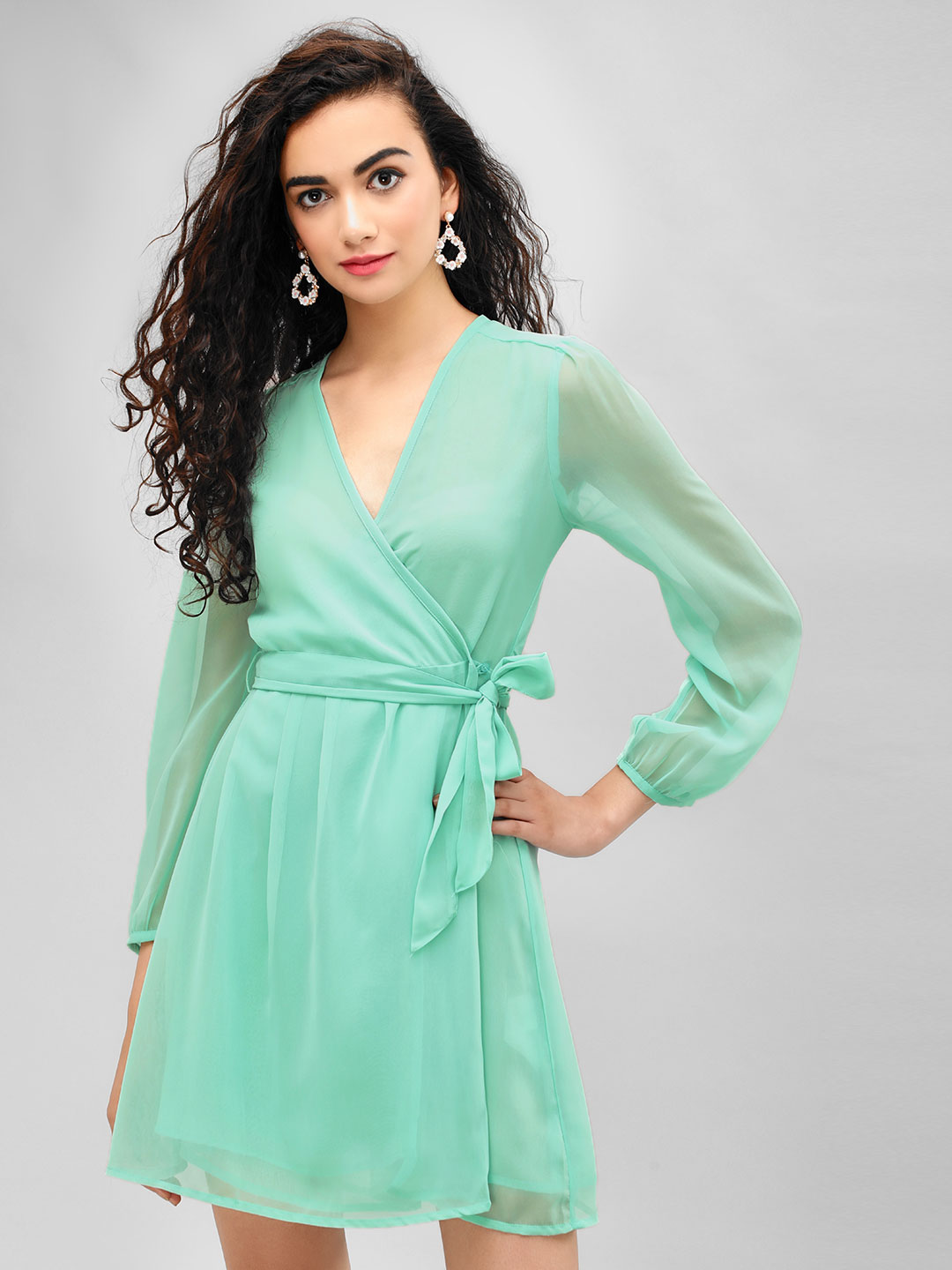KOOVS Teal Wrap Front Skater Dress 1