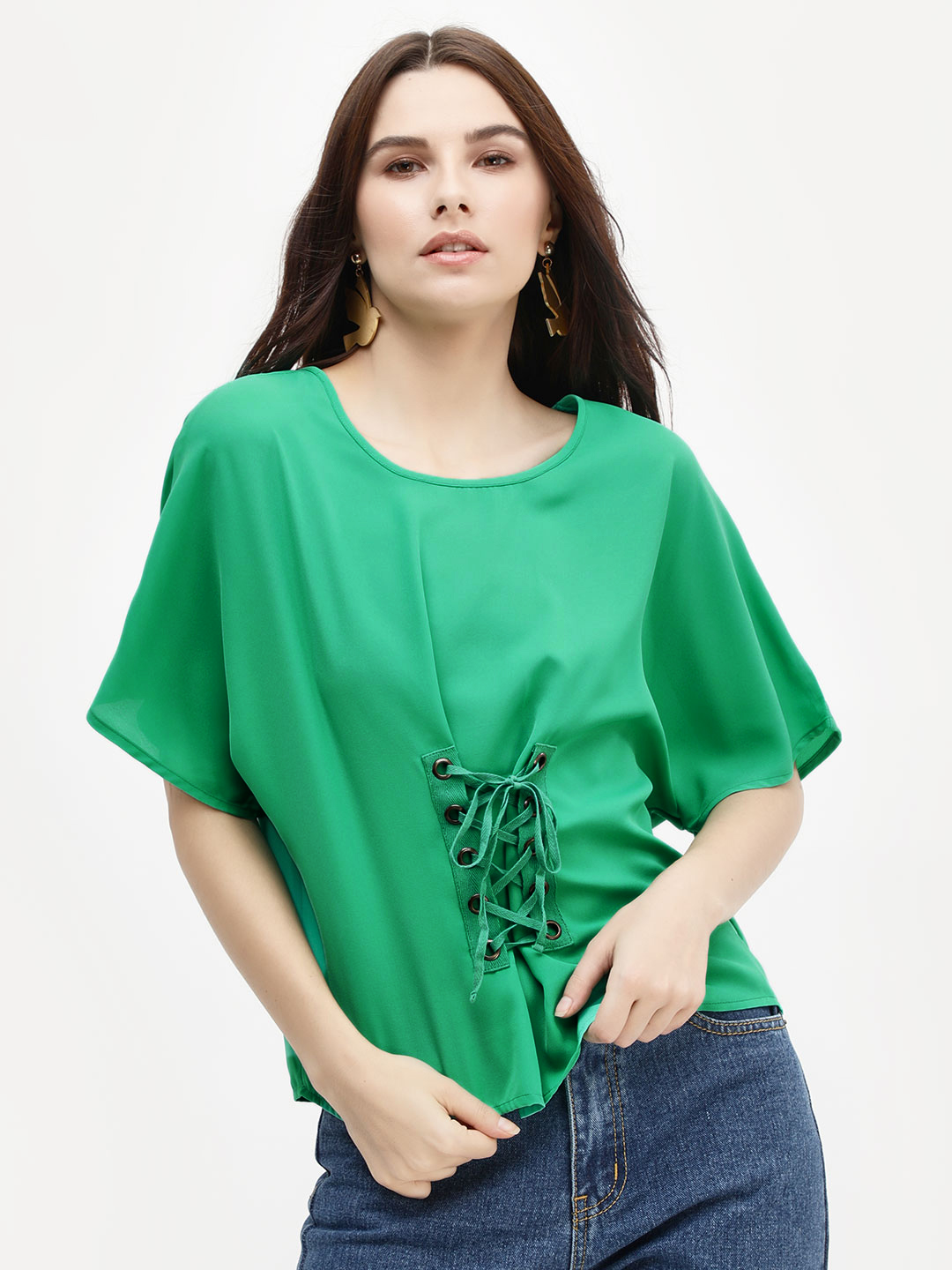KOOVS EMERALD GREEN Eyelet Lace-Up Blouse 1