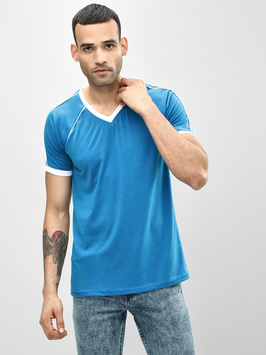 Blotch Blue Contrast Rib Detail V-Neck T-Shirt 1