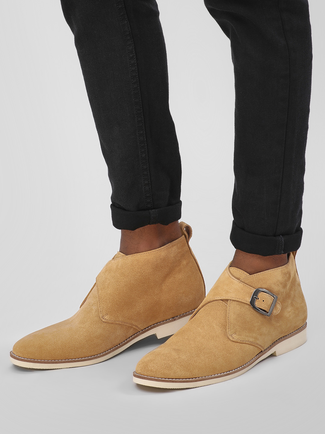 Griffin Brown Suede Overlap Ankle Boots 1